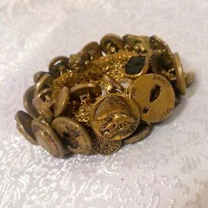Vintage Brass Figural Button Crochet Stretch Bracelet