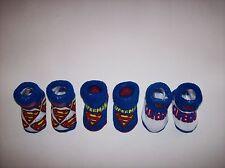 Superman Crib Shoes Booties Socks 3 Pair Sz 0-12 Mos Red Wht Blu DC Comics NIB