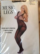 tall opaque stretch black music legs Body stocking Lingerie Open  Bust