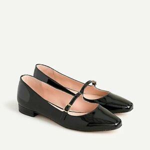NIB J CREW Carolyn Skimmer Mary Janes Flat Shoes Patent Leather Sz 7 Black