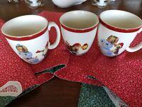3 WILLIAMS-SONOMA Coffee Cups, 🎅 & ☃️VARIETY, SET of 3, Old World Santa, PRETTY