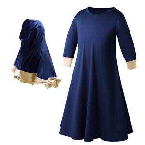 2Pcs Muslim Kids Girls Hijab Dress Khimar Jilbab Islamic Niqab Burqa Party Abaya