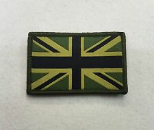 Union Jack Patch MTP Subdued Green Badge, TRF Military Army Subdued Hook & Loop