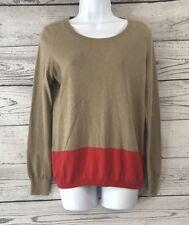 Tommy Hilfiger Size Medium Scoop Neck Sweater Orange Tan Stripe Cotton Cashmere