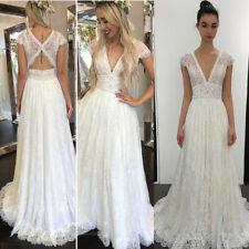 Boho Lace Wedding Dresses for Bride Long A Line V Neck Cap Sleeves Beach Dress
