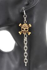 Women Silver Metal Chains Fashion Beige Skeleton Pirate Bones Skull Earrings Set