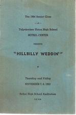 1963  HILLBILLY WEDDIN' Tulpehocken Union High School (PA) Program w/vintage ads