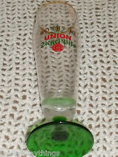 """Union Seigel Pils Beer Glass Cup Green Emerald Footed Stem 9.25"""""""
