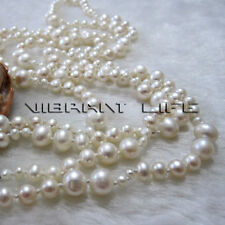 46 inches 3-8mm White Freshwater Pearl Graduated Necklace AC