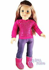 Hot Pink Sequin Cute Outfit +Boots fit only 18 inch American Girl Doll Clothes