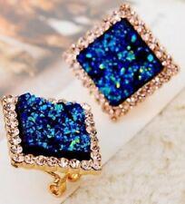 COPPIA Blu quadrato cristallo Rhinestone Orecchini in Oro e Diamante Stud Hoop Piercing E71