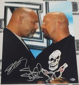 Stone Cold Steve Austin & Bill Goldberg Signed WWE 16x20 Photo BAS Beckett COA 2