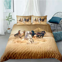 Great Seven Horses Galloping 3D Quilt Duvet Doona Cover Set Pillow case Print