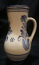 Terra Cotta Glazed Jug With Handle White Blue Rustic Country Cottage Home Decor