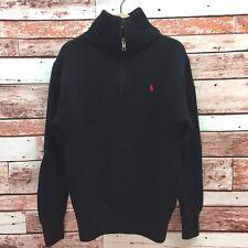 Polo Ralph Lauren Boy's Black Mock Neck ¼ Zip Sweater. Size Small.