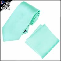 Mint Light Green Tiffany Mens Tie with Matching Pocket Square Handkerchief Hanky