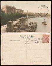GB to ROMANIA 1926 PPC THAMES BOATS + CLEOPATRAS NEEDLE