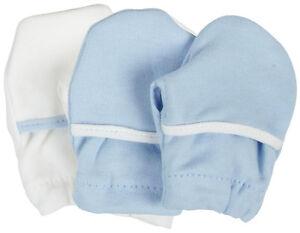 2 Pair Safety 1st Soft Cotton Baby No Scratch Mittens Green Blue Pink - 806503