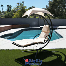 Hammock Chair Hanging Lounge Chaise Outdoor Porch Patio Canopy Sun Shade Beige