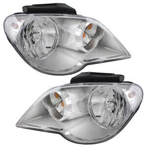 New Pair Set Halogen Headlight Headlamp Assembly for 07-08 Chrysler Pacifica