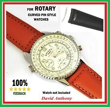 "FOR ""ROTARY"" - BLACK BROWN CURVED END SMOOTH CALF LEATHER WATCH STRAP 20mm 22mm"