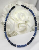 Denim Blue and Sterling Silver Bracelet or Ankle Bracelet (2799) Plus Sizes too!