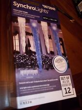 GEMMY SYNCHROLIGHTS LIGHT SHOW LED ICY-BLUE ICICLE STRING LIGHTS BLUE & WHITE