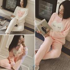 Lovely Women Girl O-neck Sweatshirts+ Pants Sets Cartoon Soft Pajama Sleep Suits