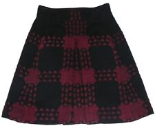 GUCCI Wool Black / Burgundy Skirt 100%Authentic UK 10 / 42