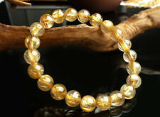 9mm Natural Gold Rutilated Quartz Crystal Smooth Beads Strenth Bracelet Aaa+