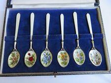 Beautiful Vintage 6 Silver & Enamel Spoons 1967 Cohen & Charles Boxed
