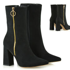 Womens High Block Heel Pointed Mid Calf Booties Ladies Zip Up Ankle Boots Shoes