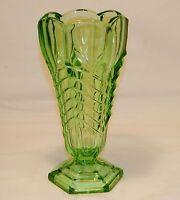 Art Deco Green Glass Chevron Vase by Davidson