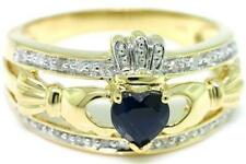 Natural Claddagh Sapphire & 20 Diamond 9k Solid Gold Celtic Ring - Bravo Jewels