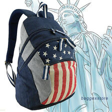USA Stars Stripes Flag National Casual Backpack Outdoor Rucksack School Book Bag