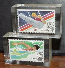 Rare 1984 Winter Olympics 2 Postage Stamps in Lucite Gymnastics Rings Swimming