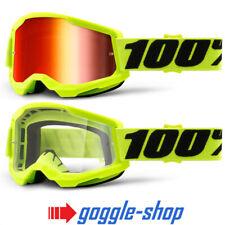 100% STRATA 2 MOTOCROSS MX BIKE MTB GOGGLES FLOU YELLOW CLEAR / MIRROR LENS