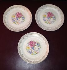 """3 Royal China Union Made """"Robinhood"""" Warranted 22KT Gold Scrolled Dinner Plates"""