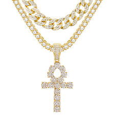 "Iced Ankh Cross Pendant 24"" Gold Plated Tennis / Cuban Chain Necklace TCMP 722 G"