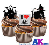 PRECUT Drums Drum Silhouette Mix 12 Edible Cupcake Toppers Decorations Birthday