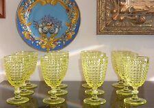 12 EAPG Thousand Eye Yellow Canary Goblets Vaseline Glass Made of Uranium 10 Oz