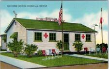 EVANSVILLE, Indiana  IN    RED CROS CANTEEN  ca 1940s Linen  Postcard