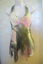 trixxi pink/green/cream color hankerchief hem halter tunic top W/S