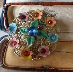 vintage art deco multi colour rhinestone enamel flower Czech brooch gold tone -7