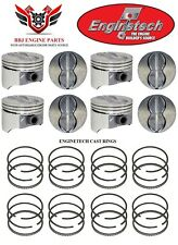 ENGINETECH CHEVROLET 350 SBC V8 FLAT TOP PISTONS AND CAST PISTON RINGS