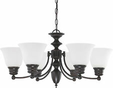 "Nuvo Empire 6 Light 26"" Chandelier with Frosted White Glass"