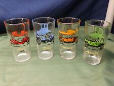 4 Vintage Hazel Atlas 50'S BAR DRINK GLASSES Cars Chevy Ford Maxwell Studebaker