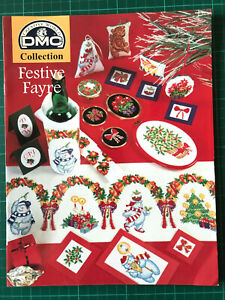 DMC Festive Fayre Cross Stitch Booklet - Christmas Cards Linen Gifts Ornaments +