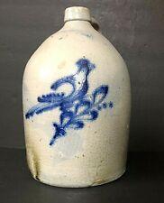 Antique 2 gl. Stoneware Salt Glazed Beehive Whiskey Jug Crock Blue Bird New York