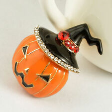 New Fashion Jewelry Halloween Pumpkin Rhinestone Brooch Pin TK6-2